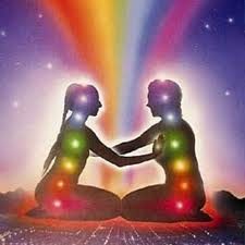 drawing of two people with seven chakras each, touching each other to activate chakras